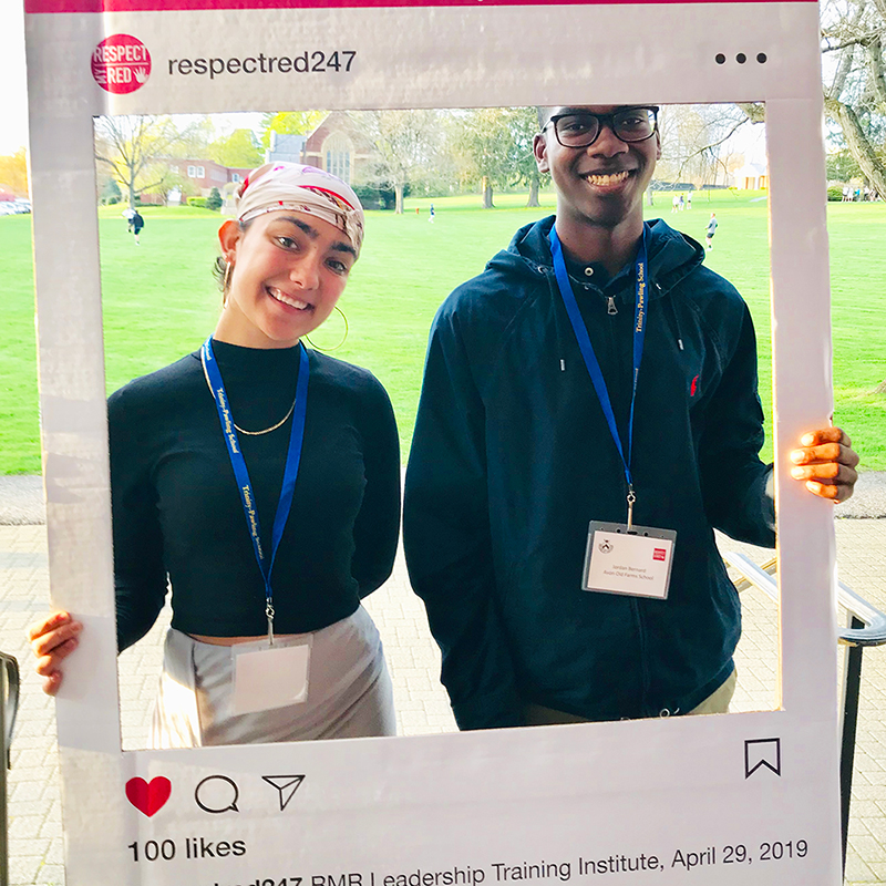 Respect My Red Selfie Frame on a College Campus to end Domestic Violence
